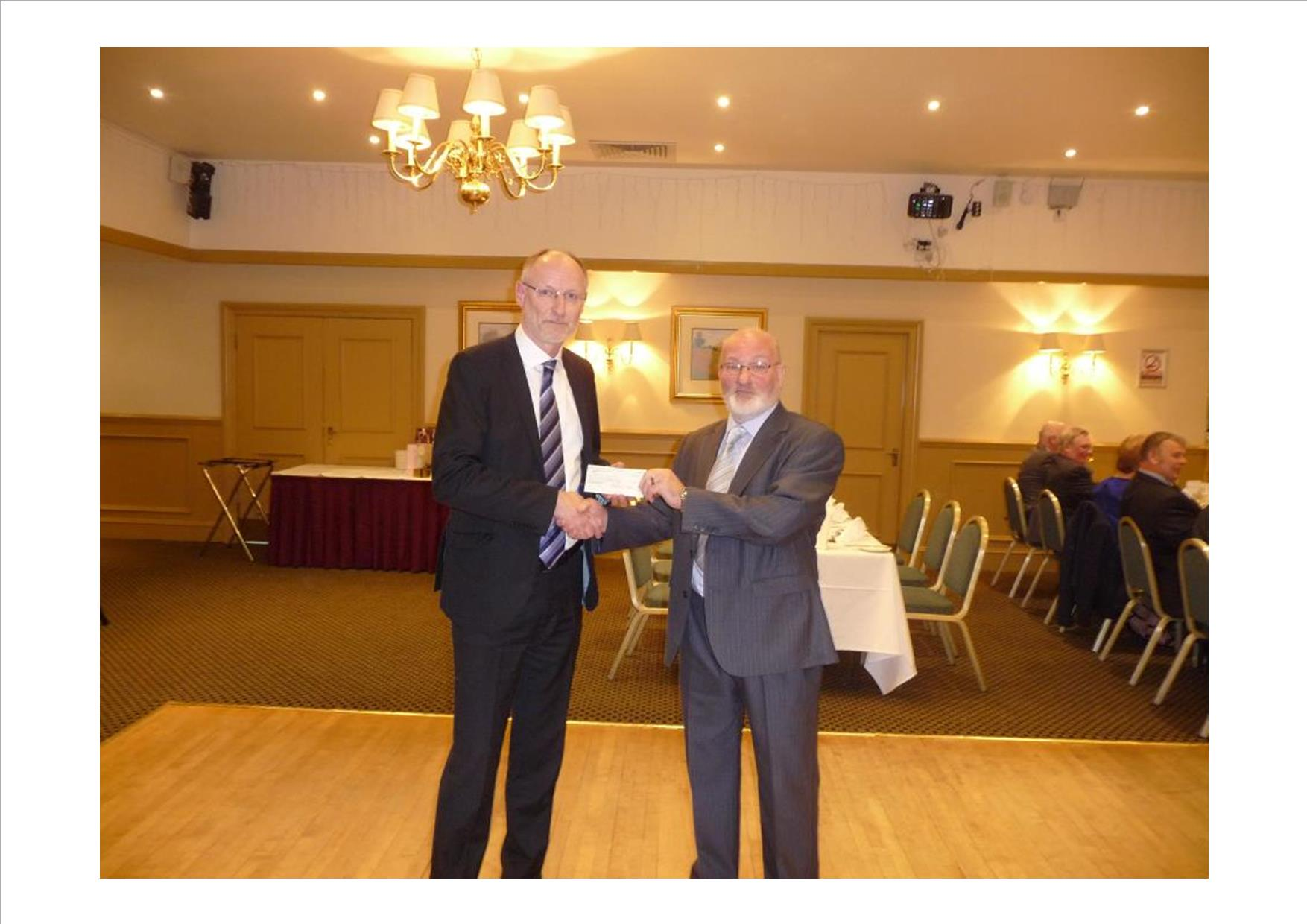 Cheque presentation of donation from The Provincial Grand Lodge of Stirlingshire