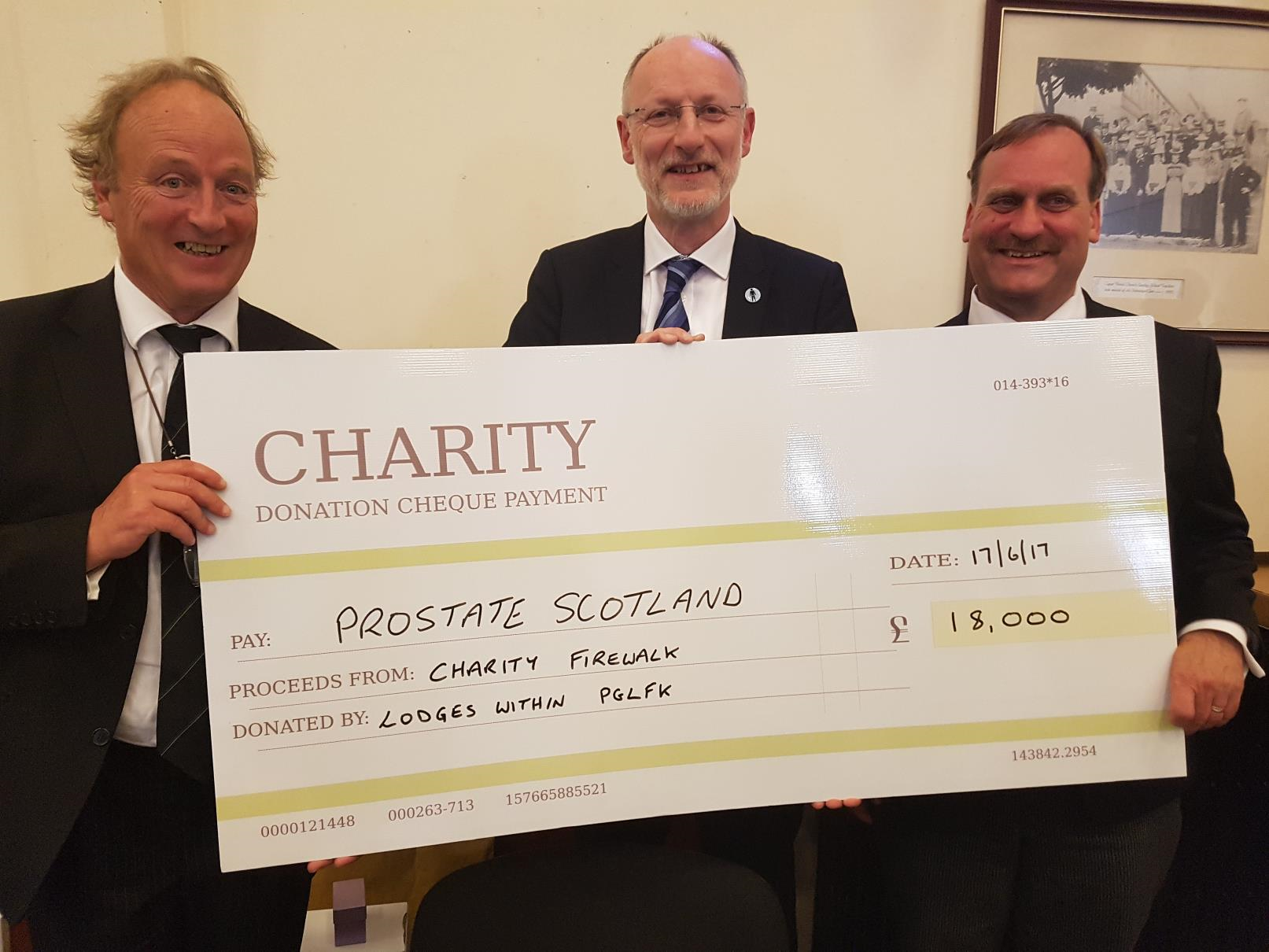 Cheque presentation from Provincial Grand Lodge of Fife & Kinross