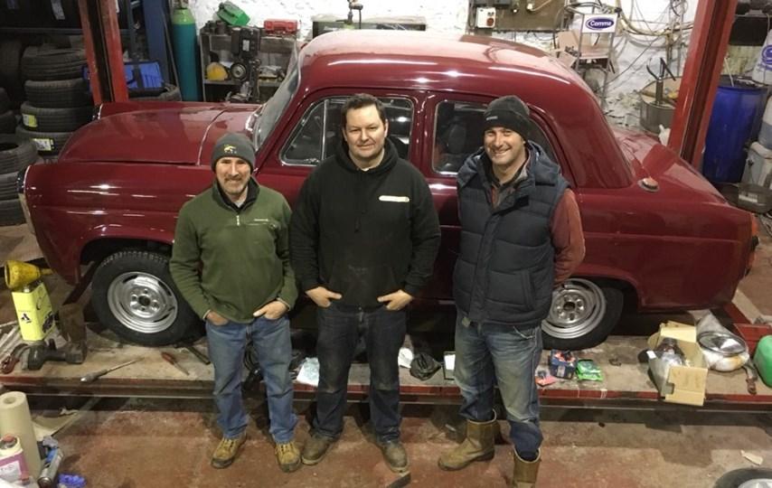 Kilts to Carlo Rally team with car